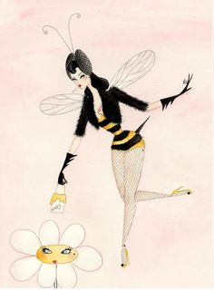 Talula Bumble inch glittery greetings card by andreakett - ~ ♥♥ ANDREA KETT ♥♥ ~ - Handgefertigte Produkte und mehr Bee Do, I Love Bees, Different Kinds Of Art, Halloween Cartoons, Save The Bees, Bees Knees, Pin Up Art, Coloring Book Pages, Greeting Cards Handmade