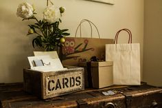 For entrance table - Burlap and Reclaimed Wood CARDS Box