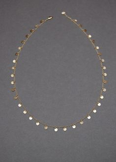 """Solid 14K Gold, 17.5"""" ThirtyEight 3.75mm, Tiny Disc Necklace"""