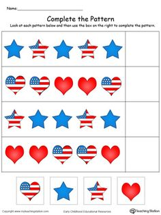 Patriotic Complete the Pattern in Color – My Teaching Station Patriotic Complete the Pattern in Color **FREE** Patriotic Complete the Pattern in Color Worksheet. Complete the pattern of the hearts and stars in this patriotic printable worksheet in color. 4th July Crafts, Fourth Of July Crafts For Kids, Patriotic Crafts, 4th Of July, Patriotic Symbols, February, Preschool Themes, Preschool Lessons, Preschool Activities