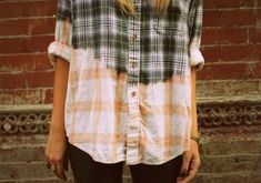 DIY INSPIRATIONAL IMAGE: bleached-out flannel. Bleach dip or spray.