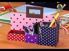 Cartonnage organizer: good step by step. Video in portuguese. Paper Folding Crafts, Paper Crafts, Diy Crafts, Craft Tutorials, Diy Projects, Cardboard Organizer, Craft Room Storage, Pretty Box, Craft Box