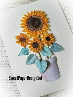Paper Quilling Art. SUN FLOWER pot by SweetPaperDesignSol on Etsy