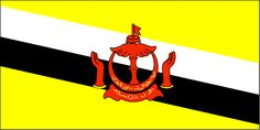 The Brunei flag was officially adopted on September 29, 1959. The flag features the country's national emblem. Yellow represents the Sultan of Brunei, and the black and white stripes represent the country's chief ministers.