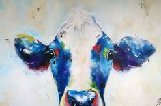 Art Collection by Nina Domaschko Cow, Paintings, Star, Canvas, Nature, Animals, Charcoal Sketch, Idea Paint, Art Production