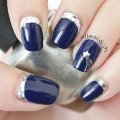 A shooting star inspired nail art using a royal blue polish for the matte and silver foil for the shooting star details and cuticle tips.