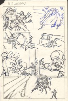Gil Kane  - Defenders Giant Size #2 pg 19 layouts Comic Art