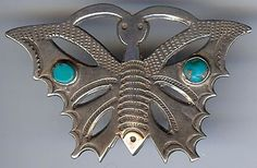 VINTAGE NAVAJO INDIAN STERLING SILVER & TURQUOISE BUTTERFLY PIN