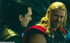 Chris (Thor) and Tom (Loki) having a laugh behind the scenes