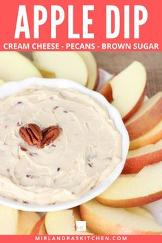 Brown Sugar Pecan Apple Dip is creamy with cream cheese, sweet brown sugar and crunchy pecans! It makes wonderful party food and is also great in sack lunches! With just three ingredients, this dip is ready in 5 minutes! #apples #fallfood #snack #partyfood