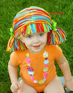 Clown Pigtail Wig Baby GIrl Halloween Costume Red by YumbabY, $19.95