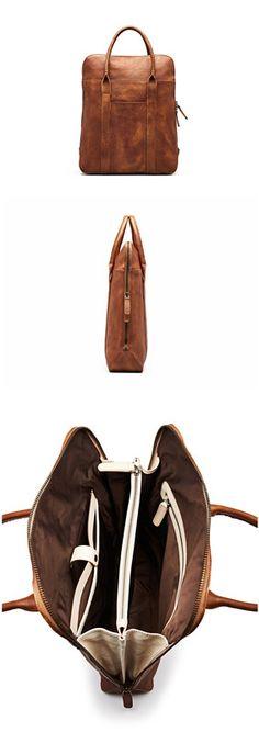 Handmade Full Grain Genuine Leather Briefcase Men Designer Handbag
