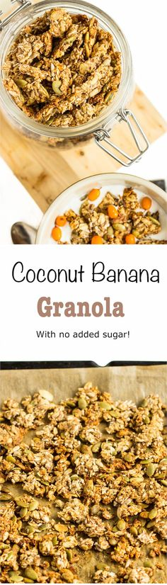 Banana granola with no added sugar! Have this for breakfast and you will have a great start!