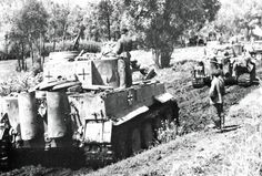 Tiger Tanks of 503 Heavy Tank Battalion are deployed near the front in southern Russia in early 1943.