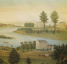 SY-307 : AMERICAN FOLK : HANDPAINTED SCENIC WALLPAPER IN THE STYLE OF EARLY AMERICAN FOLK ART, ON AN ANTIQUED GROUND.