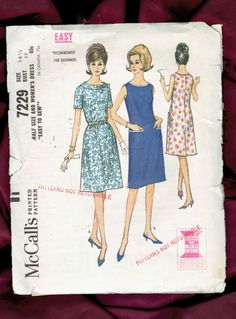 1960s Easy Flared Shift Dress with French Darts by MiAbDryGoods
