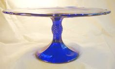 "9"" Pedestal Inverted Thistle Cake Plate Cobalt Blue Glass Pastry Plate Salver - Mosser"