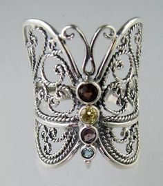 Fancy Sterling Silver Butterfly Ring Mixed CZ Size 6-10