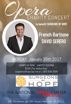 David Serero performs anOpera concert to benefit Surgeons of Hope at the National Opera Center of America