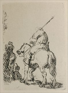 A Man on a Horseback. 1632. Etching. 81 x 59 mm. Rembrandt van Rijn