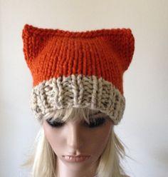 Kitty Hat Cat Hat Fox Hat Women's Knit hat Chunky hat by ellinell