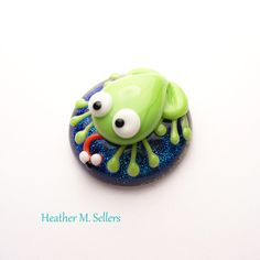 Changeable dichro, lampwork glass, frog cabochon by Heather Sellers Art Glass
