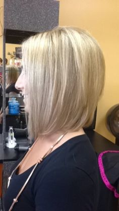 I love this medium length bob! I love that the angling is soft and not to steep. I also like the soft layering in the back.