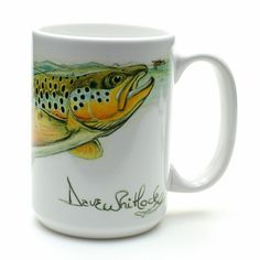 Dave Whitlock Mug, Brown Trout - Looking for a gift for a fly fisherman? These mugs are an real eye-catcher! Tight Lines, AOS Fly Fishing Team #aosflyfishing #coffemug #aosfishing #fliegenfischen #flyfishing #browntrout