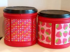 Use old coffee cans (Folger's) to make these cute containers. Cut scrapbook paper to fit indented areas on coffee can. Paint 3x with Mod Podge. Let dry before adding more Mod Podge. Cute for those little toys in a kid's room (No link.)