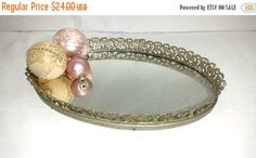 Vintage Filigree Mirrored Vanity TrayFlower by JunkYardBlonde