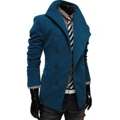 Mens Casual Unbalance Slim Wool Coat Jacket