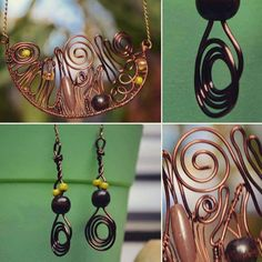 Yellow-brown-copper jewelry set necklase and by DotsAndLines89