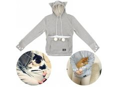 Mewgaroo Hoodie Pet Pouch Sweatshirt - The Mewgaroo Hoodie has a special pouch for your kitten or cat to snuggle up with you. And even better, the hoodie turns you into a cat too! That's right, the hood has cat ears (nekomimi) and paw markings on the sleeve. In other words, this is the most awesome item of clothing for cat-lovers ever! ...