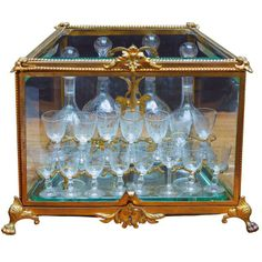 French Tantalus Drinks Set of Gilt Bronze