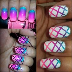 Step by Step Gradient Overlay! #nailart #nails #gradient #gradientnails #ombre #ombrenails #summernails #summer #ilovenailart #stripingtape #diy #diynails