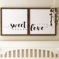 Nursery decor, small wood signs, modern farmhouse, girls nursery, floral nursery, mobile.
