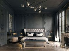 19 Magnificent Dark Bedrooms That Are Simply Amazing As it pertains to master bedroom design Master Bedroom Design, Home Decor Bedroom, Master Suite, Bedroom Furniture, Bedroom Ideas, Master Master, Grey Furniture, Bedroom Inspiration, Bedroom Wall