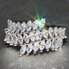 Handmade White Sapphire Gemstones 925 Silver Filled Wedding Bridal Ring Jewelry