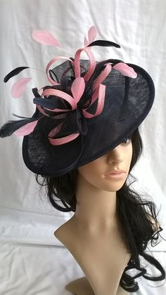 Navy Blue Fascinator ..Fascinator with Girly Pink large looped trim    feathers on a Headband 49fc3246602