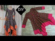 Beautiful handkerchief frock with patch at borders Girls Dresses Sewing, Frocks For Girls, Dress Sewing Patterns, Blouse Patterns, Sleeves Designs For Dresses, Dress Neck Designs, Kurta Designs, Blouse Designs, Kids Frocks Design