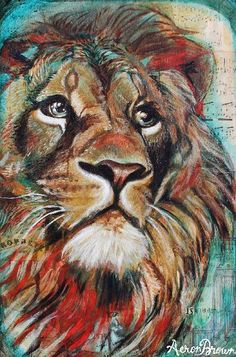 Lion by Aeron Brown Animal Paintings, Animal Drawings, Art Drawings, Lion Painting, Art Inspiration Drawing, Prophetic Art, Lion Of Judah, Lion Art, Watercolor Animals