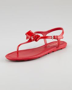 Patent Leather Bow Thong Sandal, Red by Prada at Neiman Marcus.