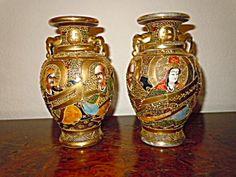 Satsuma Pair of Gold Vases