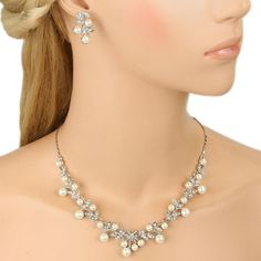 EVER FAITH Vine Leaf Bowknot Simulated Pearl Necklace Earrings Set - Silver-Tone