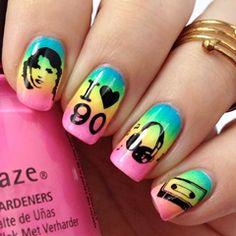 Einfaches Nageldesign mit Nagellack: 90er Jahre Neon Nails für kurze Nägel und für lange Nägel | Neon Gradient Nails | Nailart | Back to the 90's