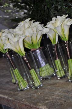 mini calla lilies,bridal bouquet,bridesmaid bouquets,weddings