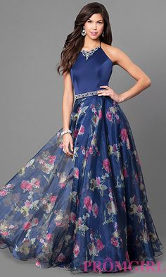 0eadc54f29 Long Halter Prom Dress with Print Skirt  258 Chiffon Maxi Dress