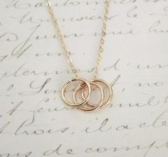 Triple Gold Ring Necklace  14k Gold Filled by PinkTwig on Etsy