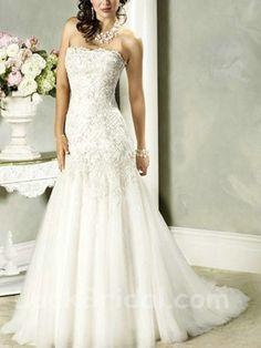 c34353836e74f Vogue Applique Organza Mermaid Wedding Dress Strapless Bridal Gown Cheap Wedding  Dress, Tulle Wedding,