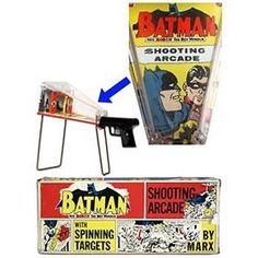 1966 Marx Batman Spinning Target Shooting Arcade in Original Box